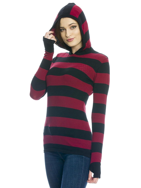 Pussy Delxue Build In Warmer Big Stripes Hoodie Kapuzenpullover schwarz//grau