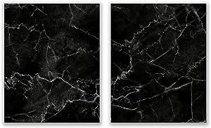 Black Marble Prints - Set of 2 (8x10) Glossy Modern Abstract Wall Art Decor