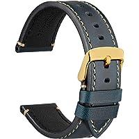WOCCI Correas de Reloj para Relojes de Negocios, Germany Crazy Horse Piel de Vacuno, Hebilla de Acero Inoxidable, 18 mm…