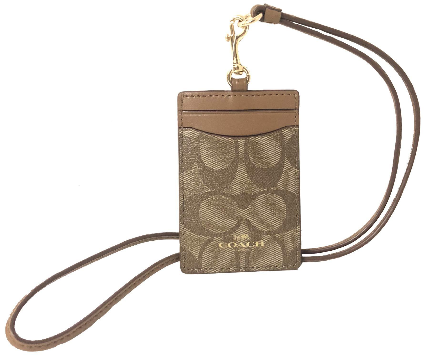Coach Signature C PVC Canvas Leather Khaki Saddle Lanyard, Badge ID Credit Card Holder 63274