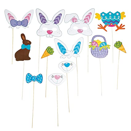 Easter Basket Stuffers Easter Photo Booth Props Kit 28 PCS Easter Decor Birthday Photo Booth Props Rabbit Basket Colorful Egg Bunny Easter Photographing Dress-up Acessories Easter Party Supplies