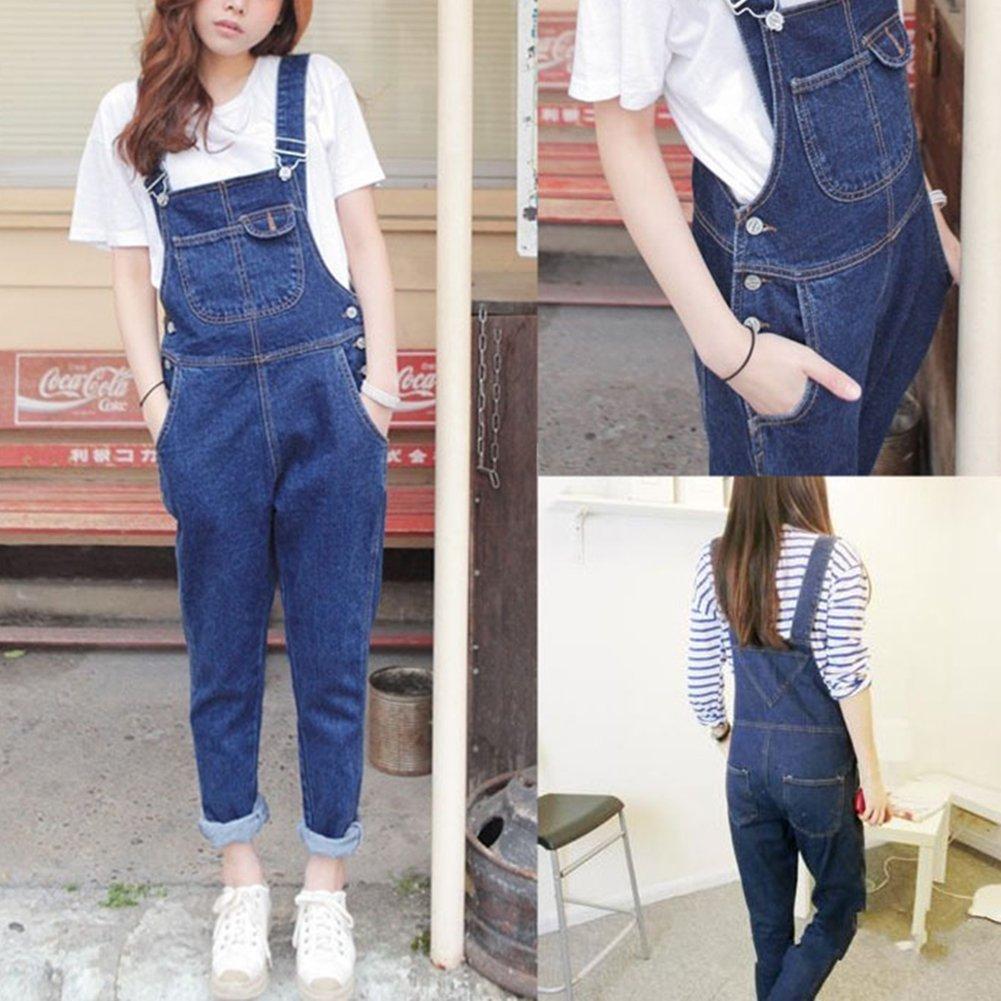 Donna Alta Pantaloni Larghi Denim Baggy Jeans Ragazza Lunga Casual Elegante  Salopette  Amazon.it  Abbigliamento f542ec076d5