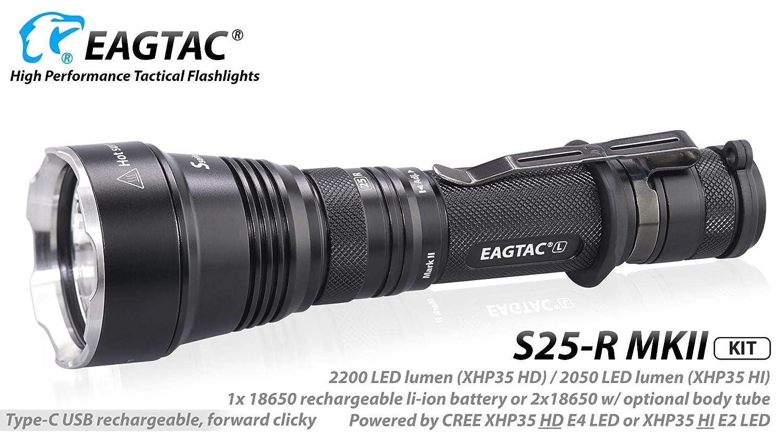 Eagletac S25L-R MKII XHP35 HD Cool Weiß Type-C Rechargeable LED Flashlight - 2200 Lumen, KIT model