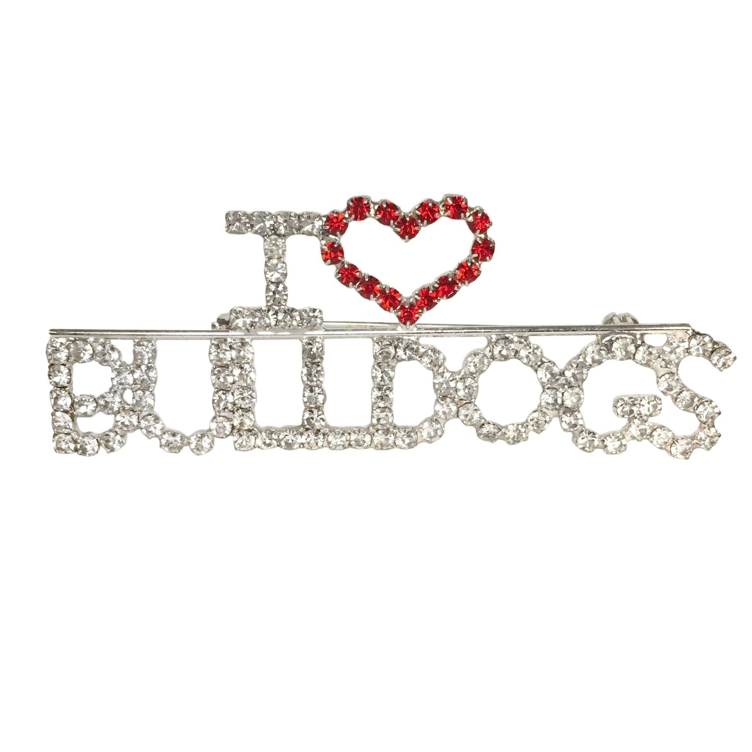 I Love Bulldogs Rhinestone Blingy Worded Silver Tone Pin Brooch