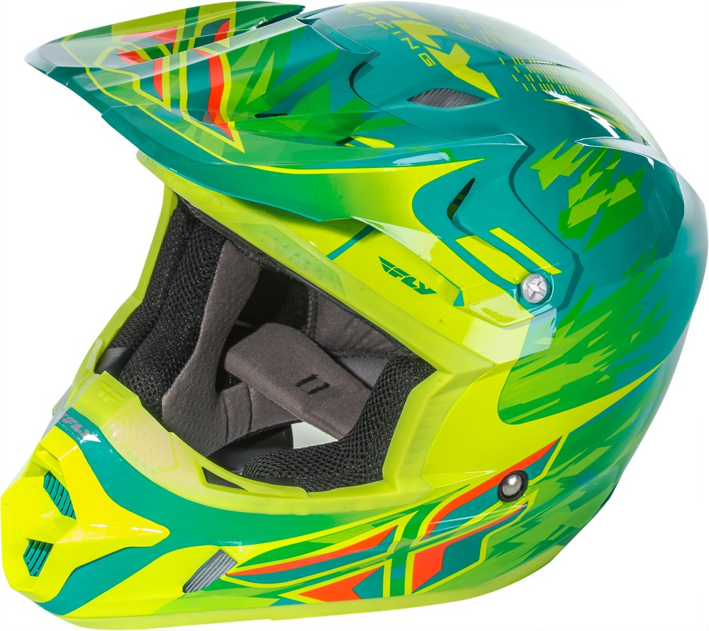 Fly Racing Unisex-Adult Full-face Style Kinetic Pro Shortsy Replacement Helmet Teal//Yellow Large 73-3314L