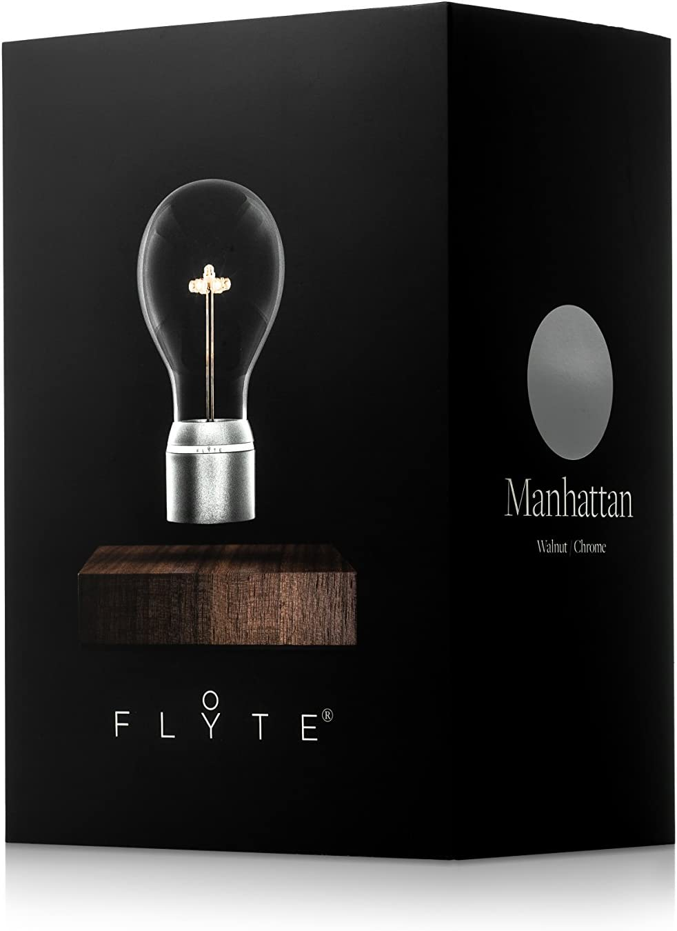 FLYTE Royal - Original, Echte Schwebende LED Glühbirne Lampe (Basis aus Eichenholz, Glühbirnenkappe aus Gold) [Energieklasse B] Chrom