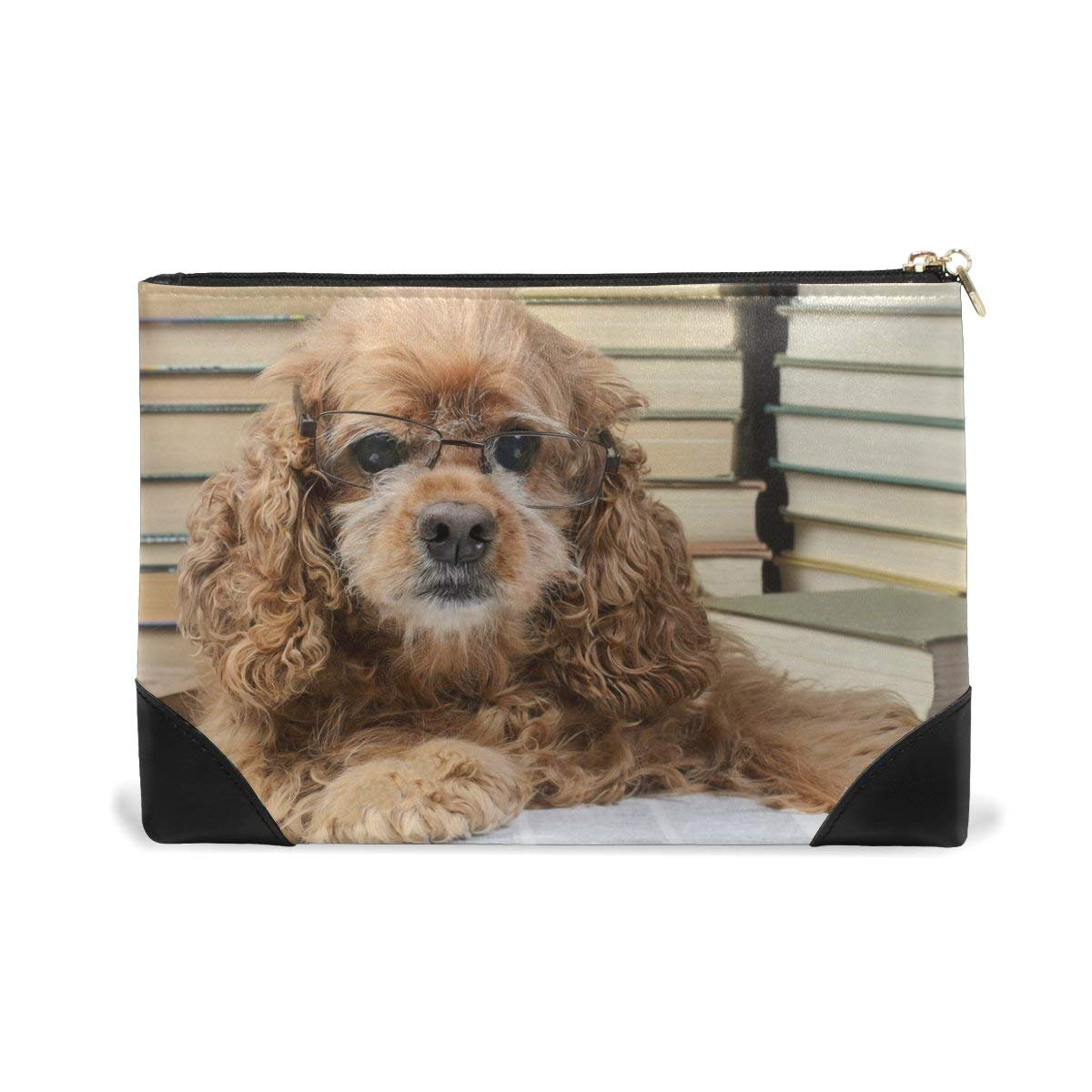 BLEFE Cute Dog Wearing Glasses Books Makeup Cosmetic Bag Pouch Travel Bag for Women Girls