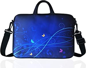 "17-Inch to 17.3-Inch Neoprene Laptop Shoulder Messenger Bag Case Sleeve For 16 16.5 17 17.3"" Inch Acer/Asus/Dell/Lenovo/HP/Macbook (Blue)"