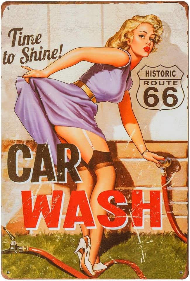 dingleiever-Vintage Tin Sign for Garage Retro Decor Metal Poster Pinup Girl Plaque Full Service Car Wash