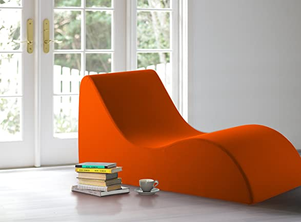 amazoncom vivon comfort foam lounging accent chair chaise lounge for the bedroom family room game room orange kitchen u0026 dining
