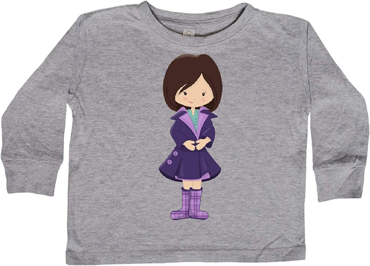 Purple Coat inktastic Fashion Girl Toddler Long Sleeve T-Shirt Brown Hair