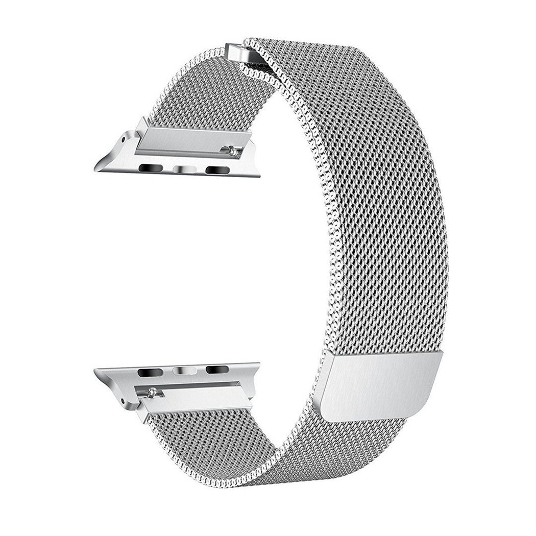 SICCIDEN Compatible for Apple Watch Band 38mm, Milanese Mesh Loop Magnetic Closure Clasp Stainless Steel Replacement iWatch Band Compatible for Apple Watch Series 3 Series 2 Series 1, Silver