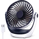 Aluan Desk Fan Small Table Fan with Strong Airflow Quiet Operation Portable Fan Speed Adjustable Head 360°Rotatable Mini Personal Fan for Home Office Bedroom Table and Desktop 5.1 Inch