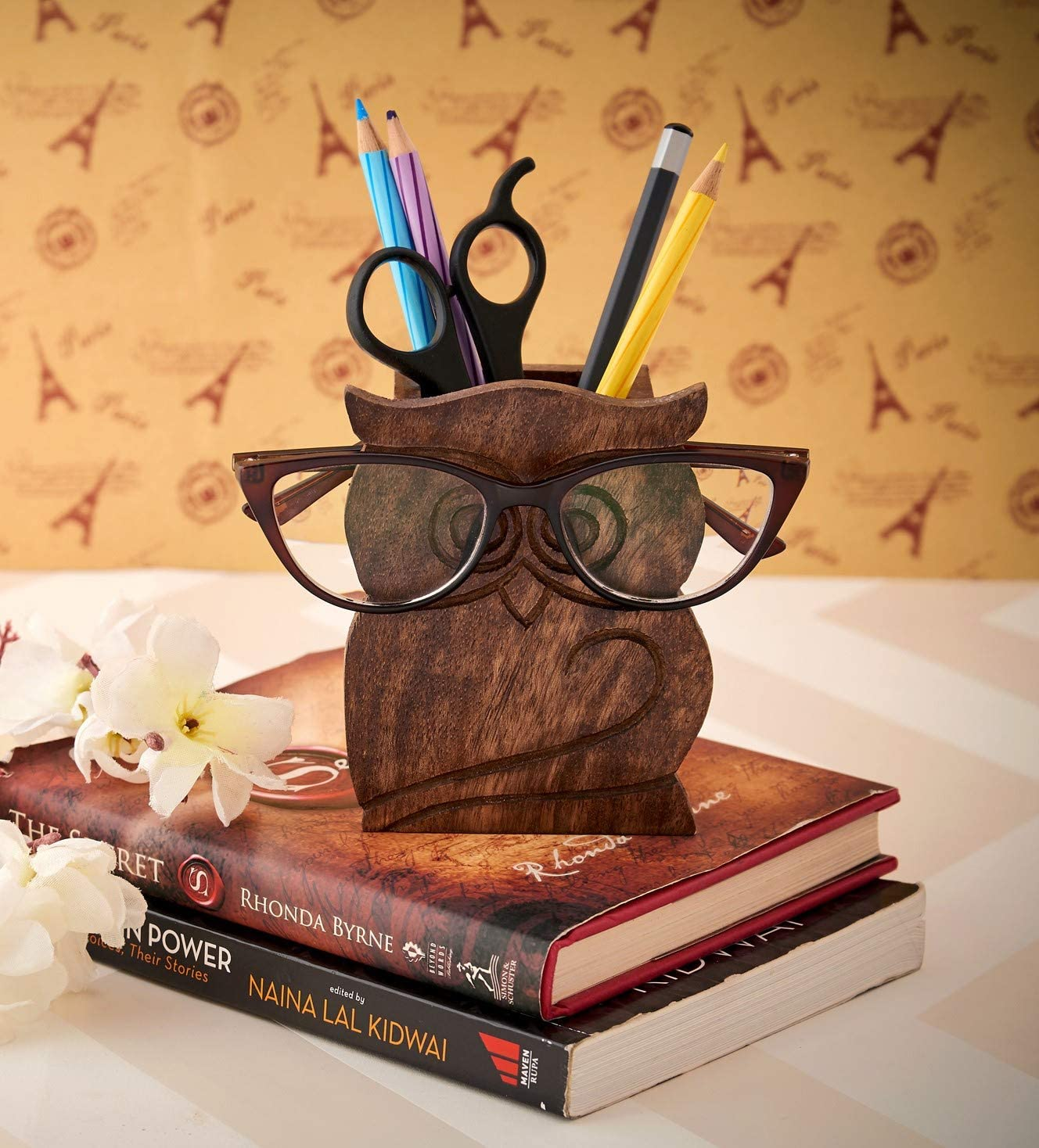 Eximious India PJ02 Owl Design Rustic Wood Pencil Holder Pen Cup Spectacle Eyeglasses Holder Desk Caddy Organizer Office Supplies Accessories Gift Ideas Office Coworkers