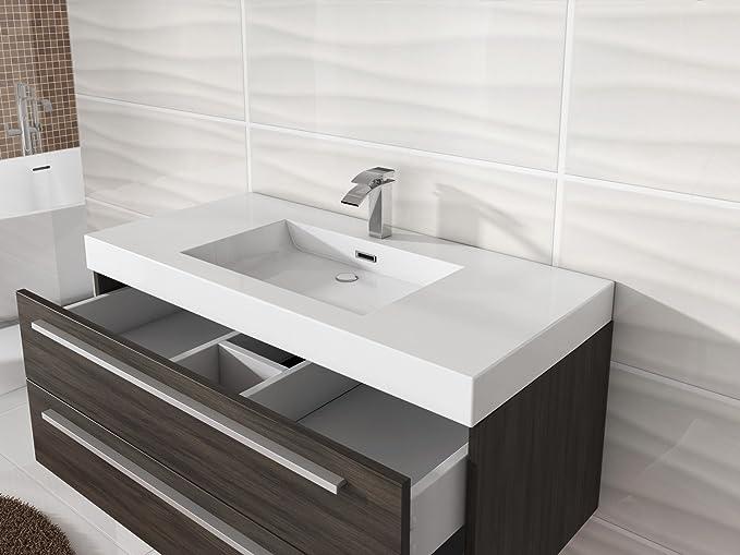 badezimmer badmobel rome 100 cm eiche dunkel unterschrank schrank waschbecken waschtisch amazon de kuche haushalt
