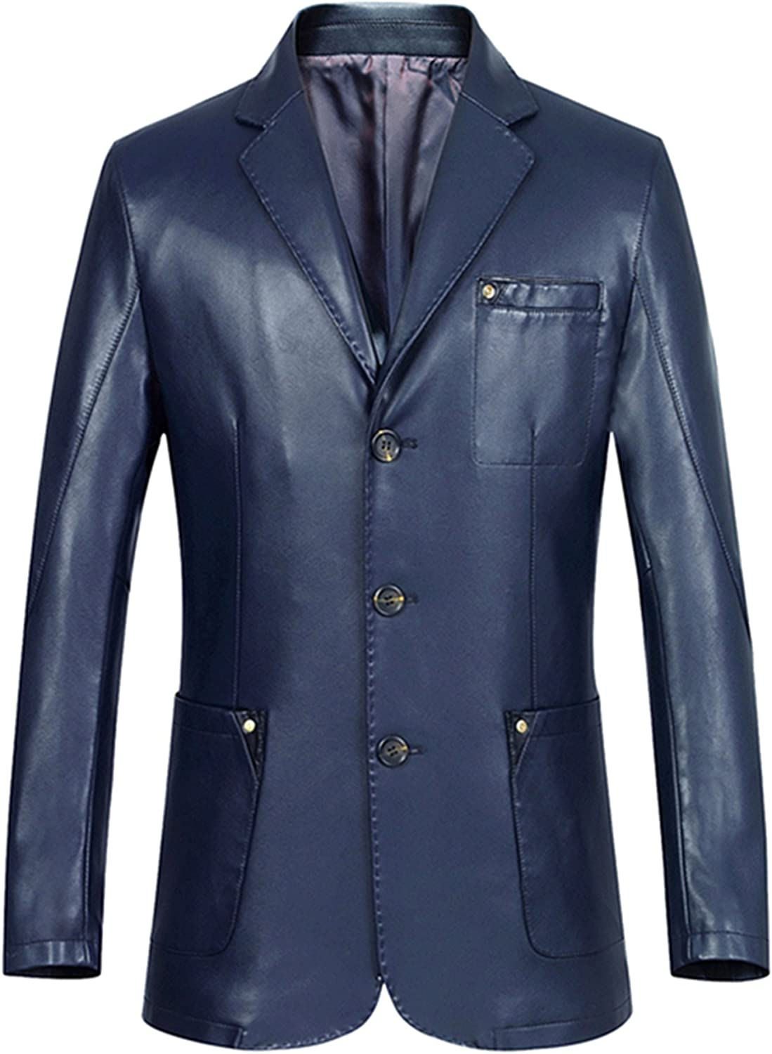 Mens leather Korean version business leather suit collar leather jacket