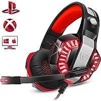 ENVEL - Auriculares de diadema para PS4 con micrófono, PC, Xbox One, computadora portátil, sonido envolvente sobre la oreja con cancelación de ruido con luces LED, control de volumen para smartphone, computadora, Nintendo Switch (negro y rojo)