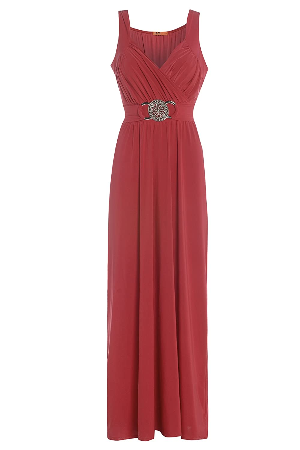 Blush Avenue® Women's Sleeveless Buckle Maxi Evening Dress Glossy Look