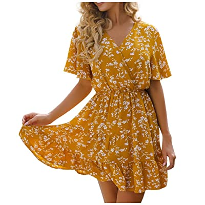 ANJUNIE Womens Wrap Tie Knot Mini Sundress Loose V-Neck Short Sleeved Printing Skirt Dress: Clothing