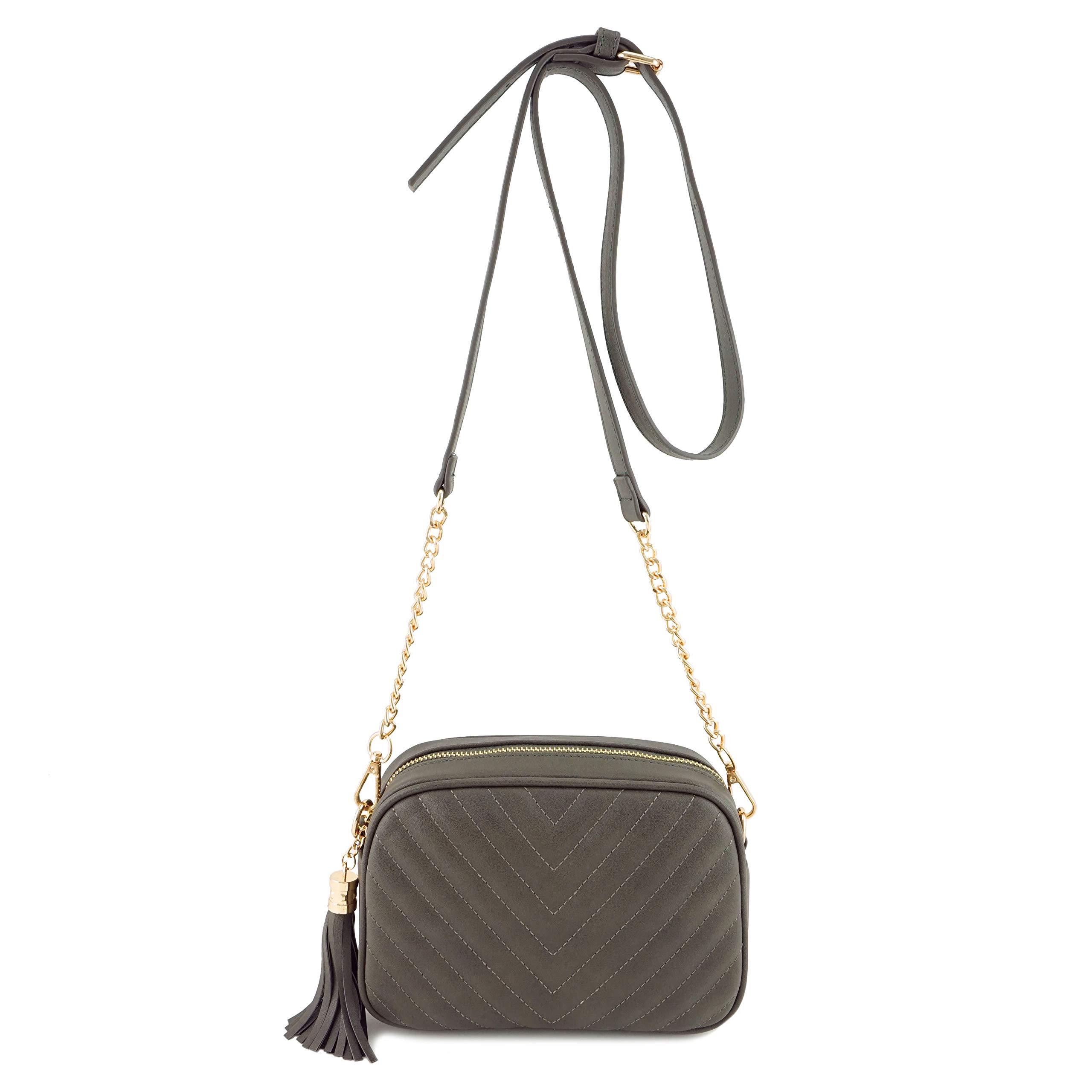 Simple Shoulder Crossbody Bag With Metal Chain Strap And Tassel Top Zipper (Dk Grey)