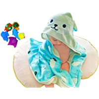 Premium Hooded Baby Towel - Natural Bamboo Baby Hooded Towel Gift Set with Cute Bath Toys - Soft Absorbent Baby Bath…