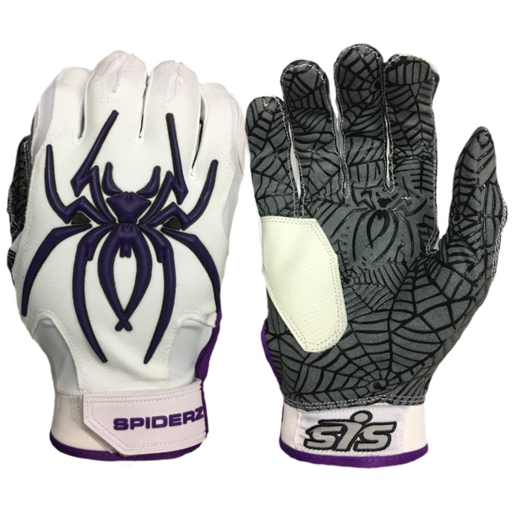 Spiderz大人用ハイブリッドバッティンググローブシリコンWeb Palm B076DKHYVK Adult XX-Large Haze Whiteout (White/Purple) Haze Whiteout (White/Purple) Adult XX-Large