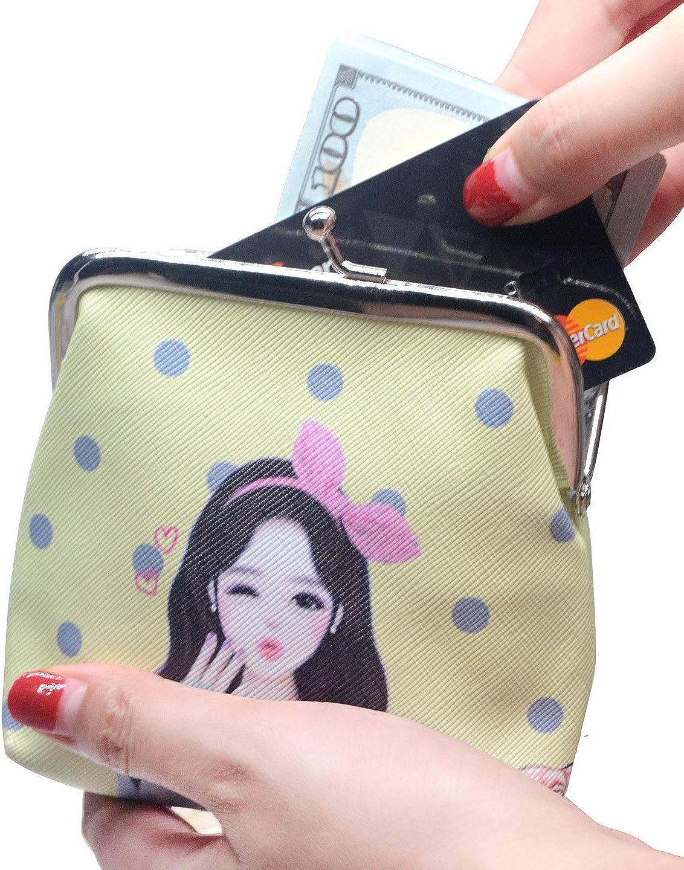 Dark Green Sun Flowers Llama Vintage Pouch Girl Kiss-lock Change Purse Wallets Buckle Leather Coin Purses Key Woman Printed