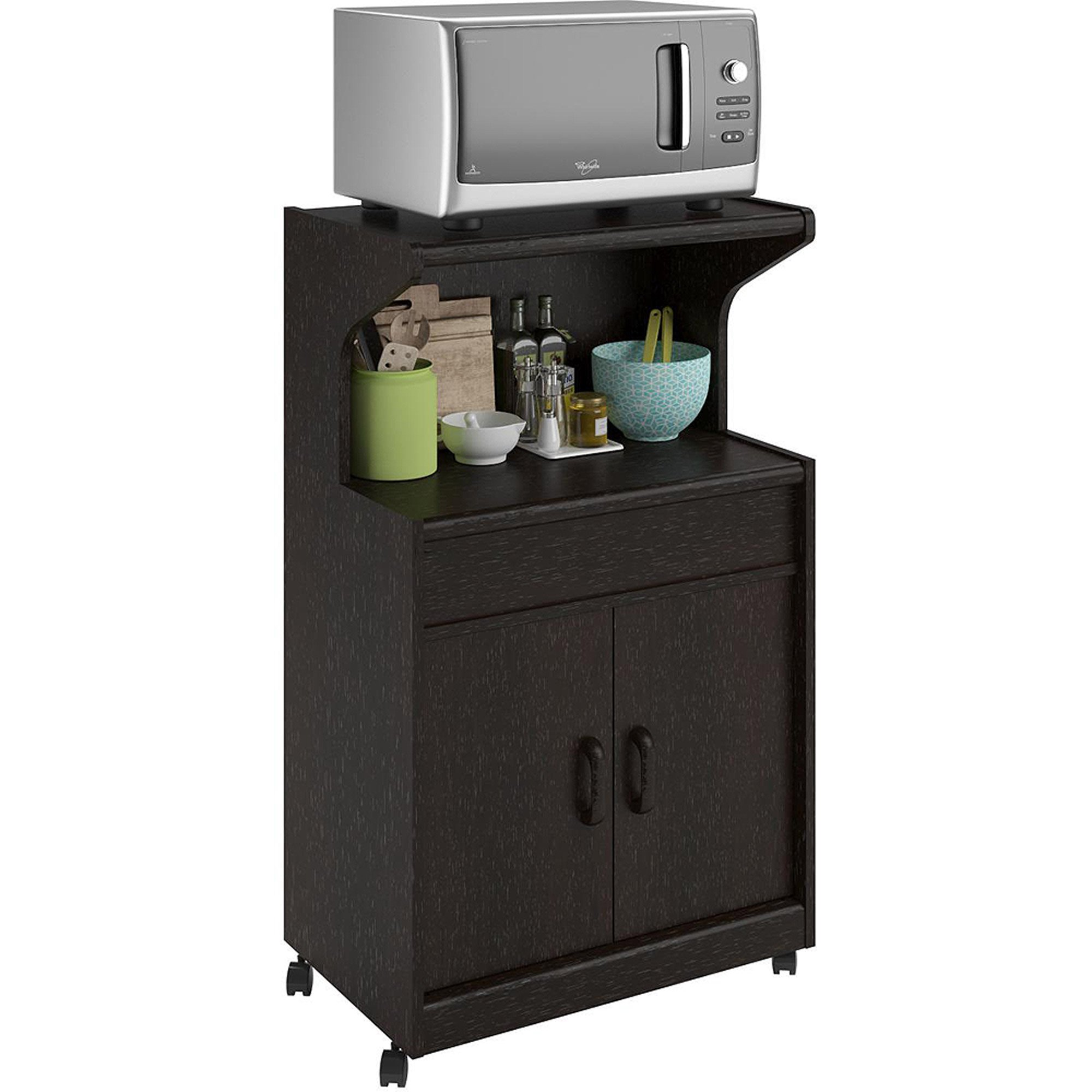Microwave Cabinet With Shelves, Rolling Kitchen Cabinet, Amble Storage Space Underneath, Casters on the Bottom, Easy Mobility, Convenient Prepping Station, Open Storage + Expert Guide (Espresso)