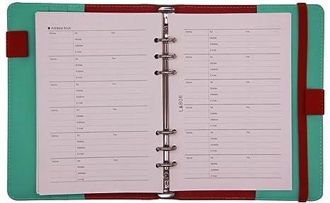 LABONS A5 Hojas Sueltas 6 Anillas Filofax Relleno 2019 2020 Calendario/Mensual Semanal Diario Programa/Teléfonos y Dirección/Informaciones ...