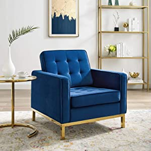 Modway Loft Tufted Button Performance Velvet Upholstered Accent Lounge Arm Chair in Gold Navy