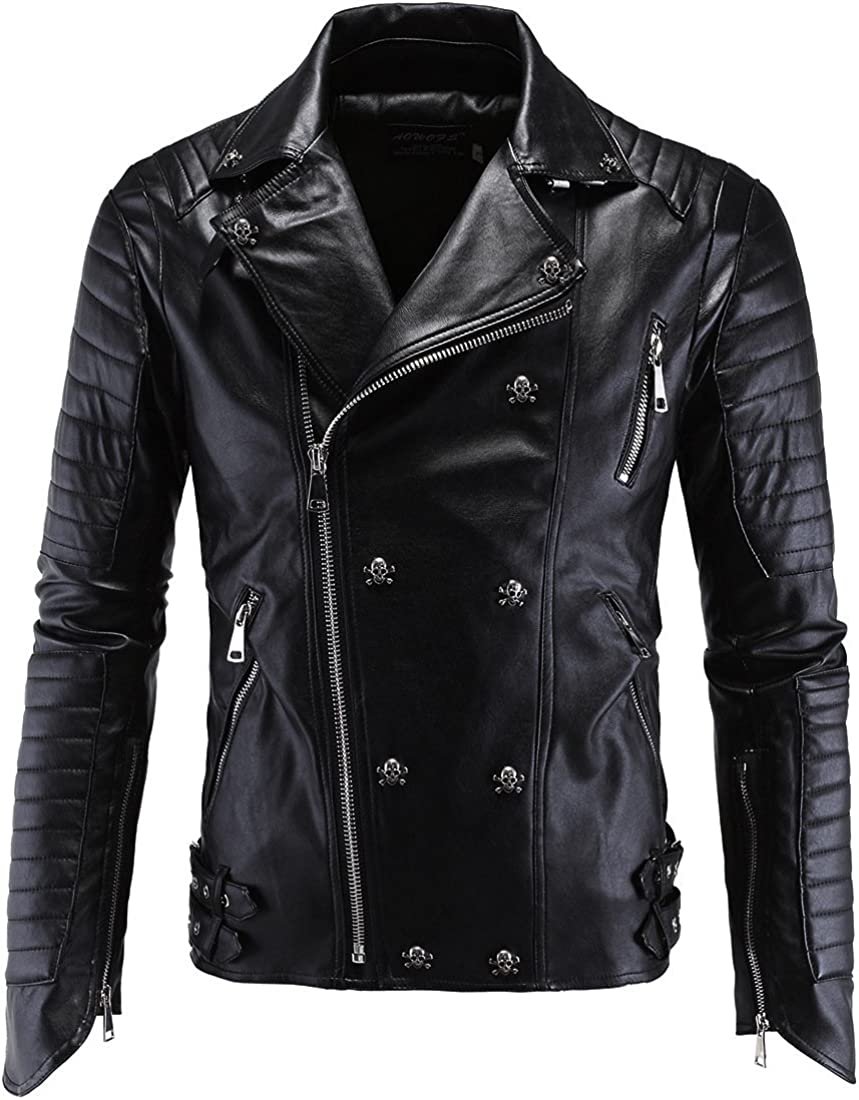 Mens Lapel Stand Collar Pu Leather Jacket Fashion Faux-Leather Moto Jacket S-3XL Black