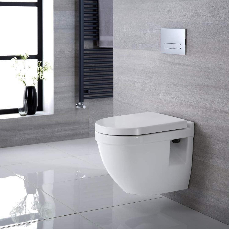 abattant et si/ège pour WC avec 2 boutons de lib/ération Blanc Dalmo TBTS01B Abattant WC en forme de D avec fermeture douce et antid/érapante