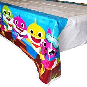 """FUNTON Baby Shark Table Cloth: Baby Shark Plastic Table Cloths 90"""" x 50"""" Inches for Parties and Other Events- Baby Shark Table Cover for Your Baby Shark Party Supplies and Baby Shark Birthday Decorations"""