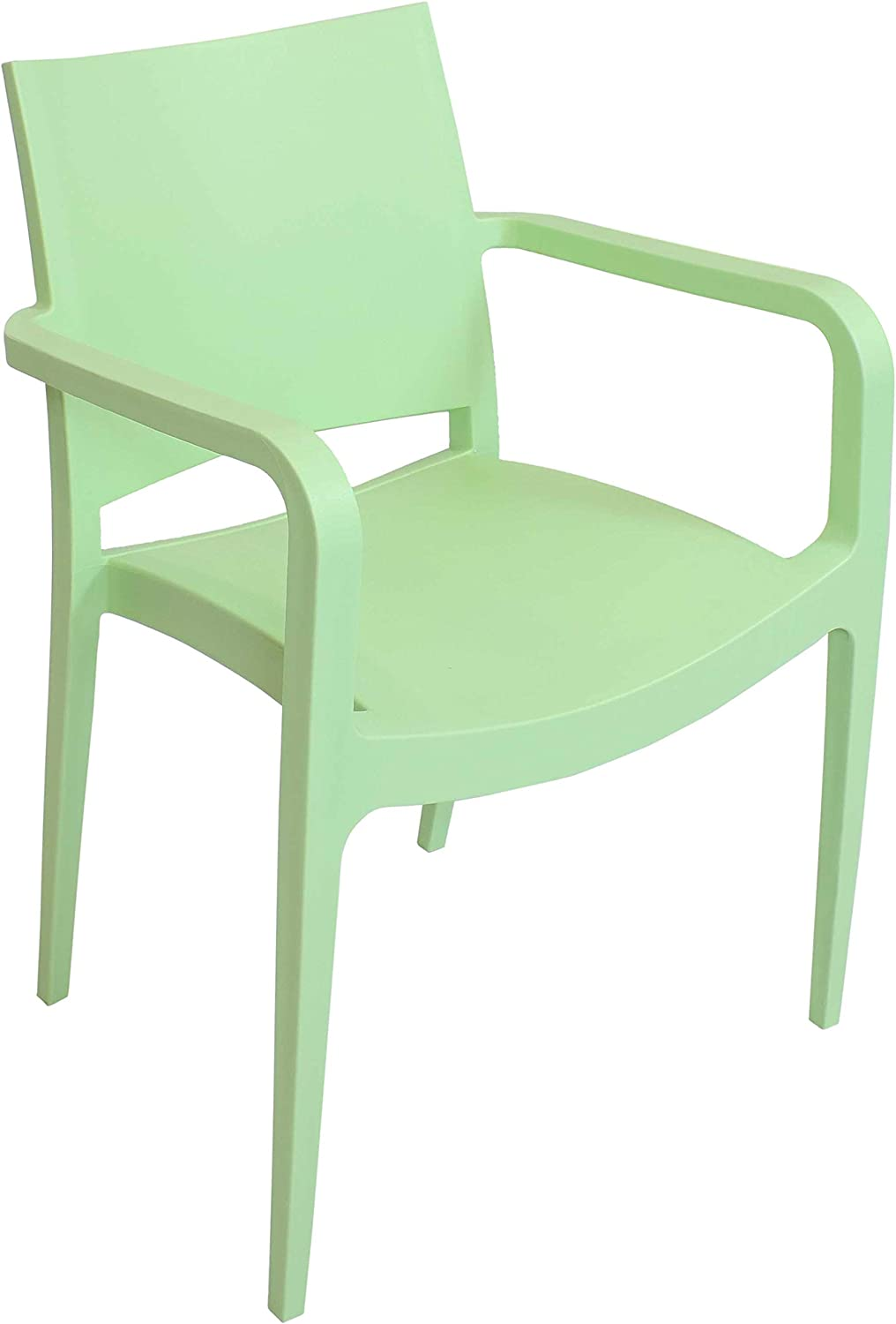 Sunnydaze Landon Plastic Patio Dining Armchair Seat - Modern Design - Deck, Lawn and Garden Seat - Indoor or Outdoor Use - Commercial Grade All-Weather - Light Green - 1 Chair