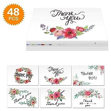 Powcan 48 Tarjetas de Agradecimiento con Sobres para El Día de ...