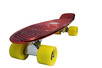Beginners and Advanced Riders crazy 4 fones 22 Complete Skateboard Retro Mini Cruiser Bendable Plastic Board Sturdy Old School Deck and 4 PU Wheels for Kids,Youths