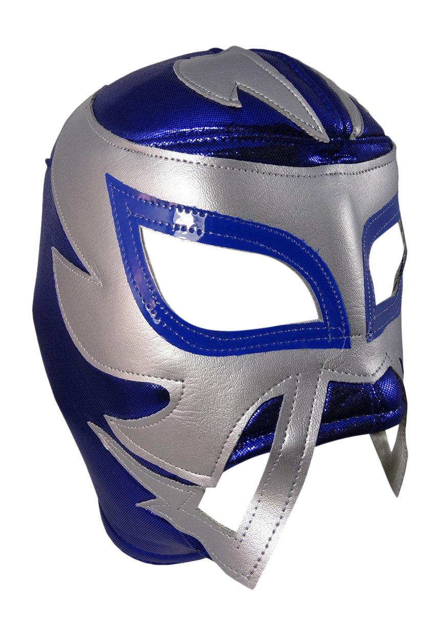 RAYMAN Adult Lucha Libre Wrestling Mask (pro-fit) Costume Wear - Blue/Grey
