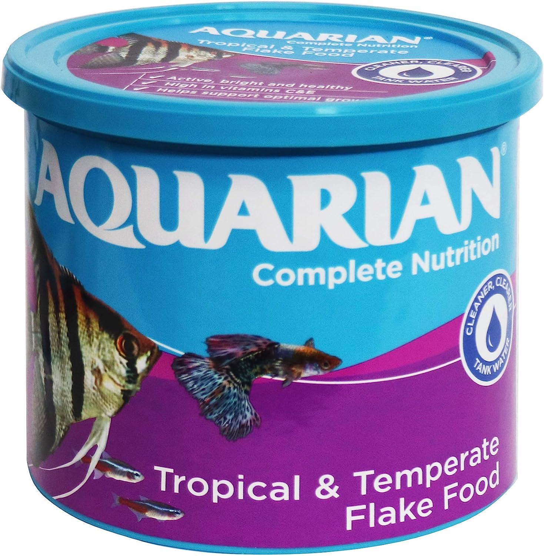 Aquarian Complete Nutrition Aquarium Tropical Fish Food Flakes Container, 200 G