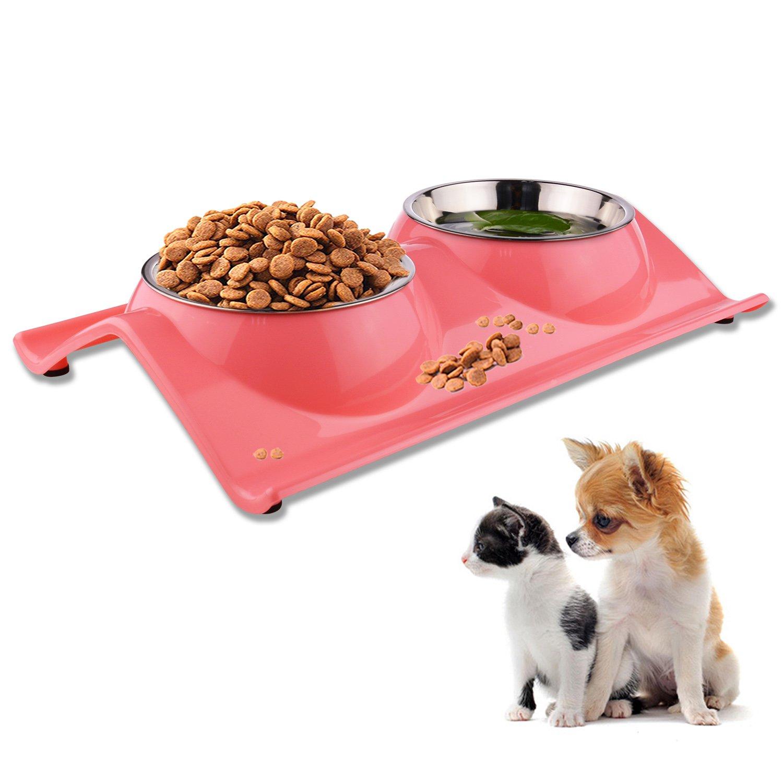 Azul ShareWe Cuencos Doble para Perro Gato Animal Mascotas Cuencos Alimento Agua Platos de Acero Inoxidable con Dise/ño Antideslizante y Antiderrames