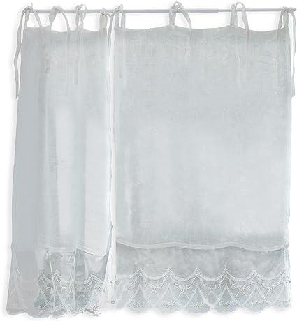 Coton H//L env Blanc 70//45 cm Lin Loberon Brise-bise Komrat Blanc
