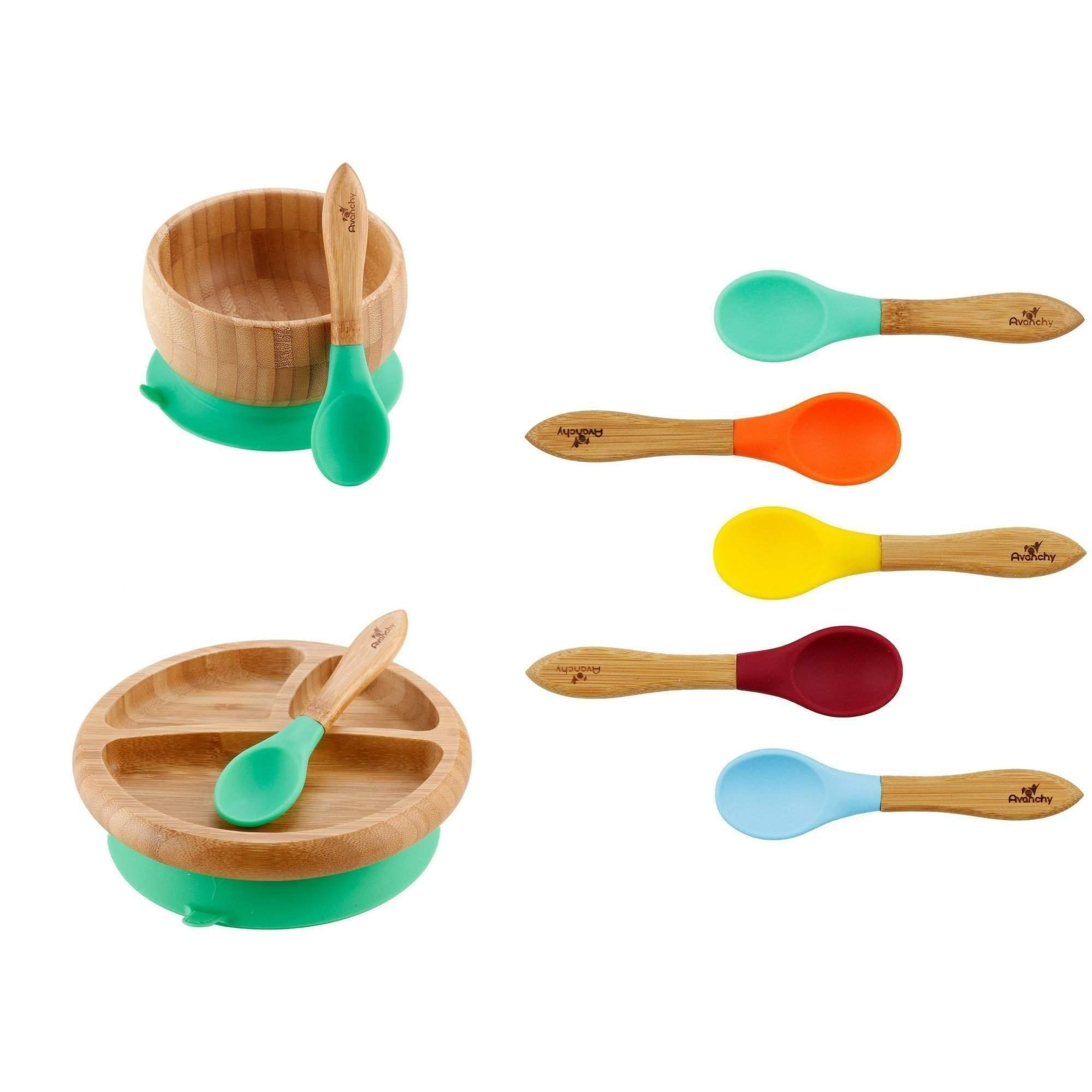 Rainbow Gift Set Green - Baby Shower, Baby Registry, Home Set & More. Baby Girl, Baby Boy, Unisex. Baby Bowl Set + Baby Plate Set + Assorted Baby Spoons Set. FDA Approved BPA Free
