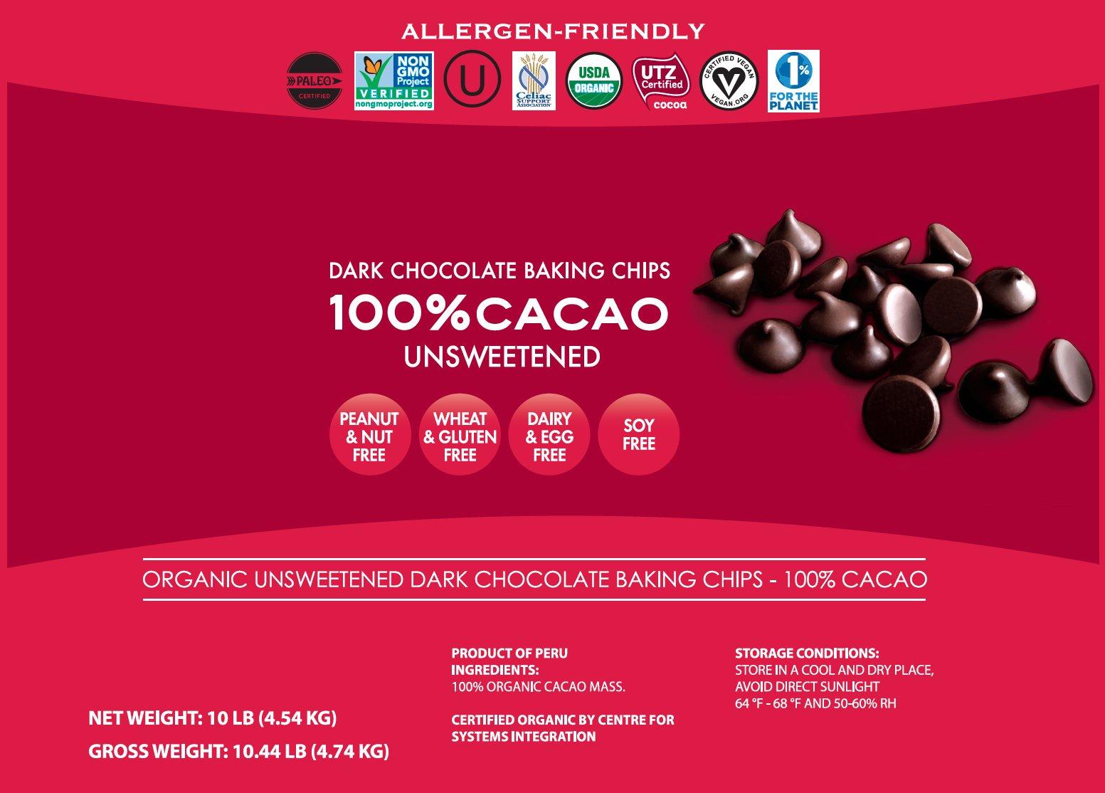 Pascha Bulk Organic Unsweetened 100% Dark Chocolate Baking Chips, 10 Pound by Pascha (Image #2)