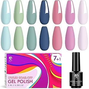 Gel Nail Polish, 7 Colors No Wipe Glossy Gel Polish with Matte Top Coat, UV/LED Soak Off Nail Polish Set for Nail DIY Salon (0.28Fl Oz)