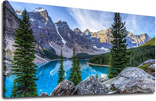 Large Moraine Lake Canvas Wall Art Mountain Lake Canvas Landscape Pictures Nature Artwork Glacially Fed Lake National Park Contemporary Wall Art