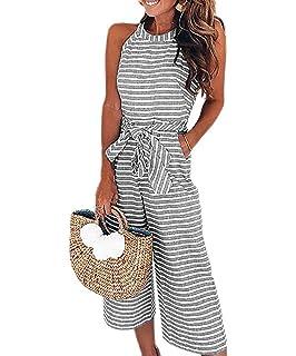 f67d696820ce Amazon.com  FANCYINN Women Stripe Print Sleeveless Zipper Back Long ...