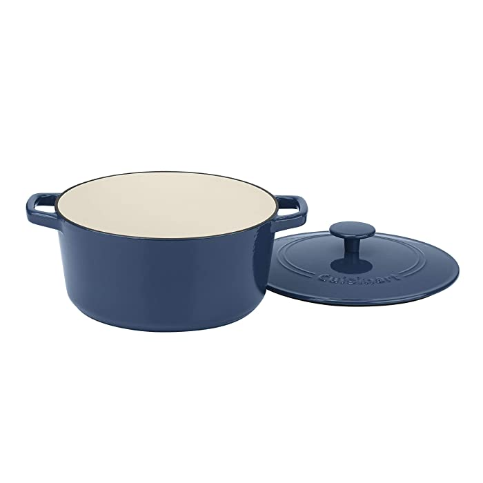 Cuisinart CI650-25BG 5 Qt Round Cast Iron Casserole Covered, Enameled Provencial Blue