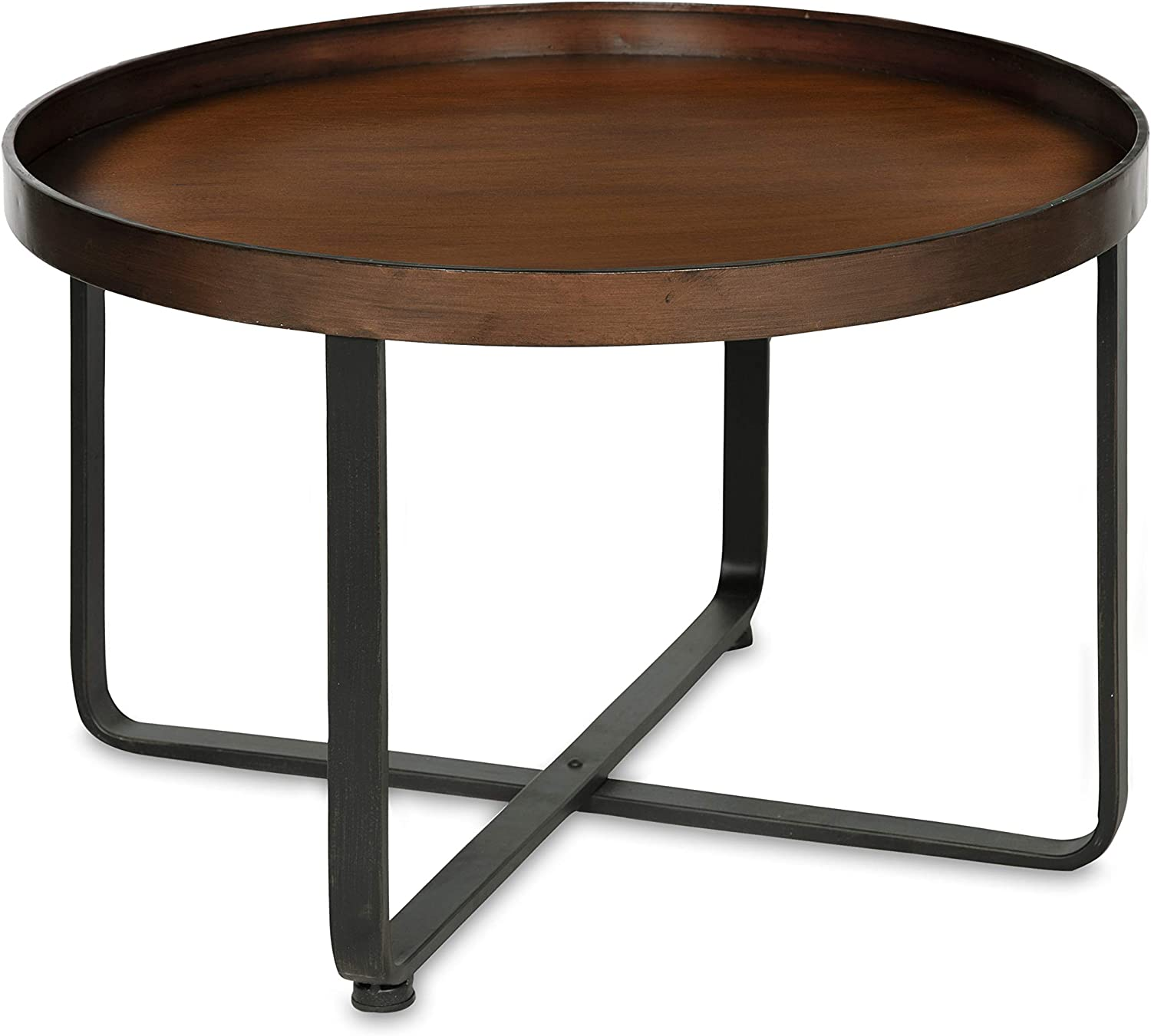 Amazon Com Kate And Laurel Zabel Modern Round Metal Coffee Table With Criss Cross Base Bronze And Black Furniture Decor