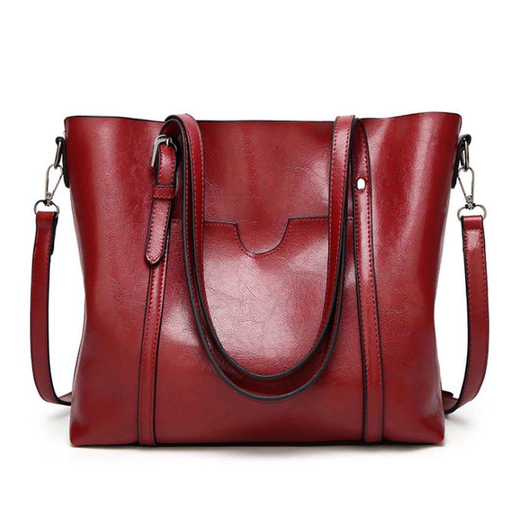 New Women's Vintage Fine Fibre Genuine Leather Bag Tote Shoulder Bag Handbag Model Ciara Red Wine