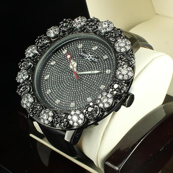 Cluster Flor bisel especial piel Kronos exclusivo diamante reloj personalizado estilo: Amazon.es: Relojes