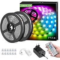 LE Ledstrip, 15 m, RGB, 5050 SMD LED-strips, 12 V, zelfklevende lichtband met afstandsbediening met 44 toetsen…